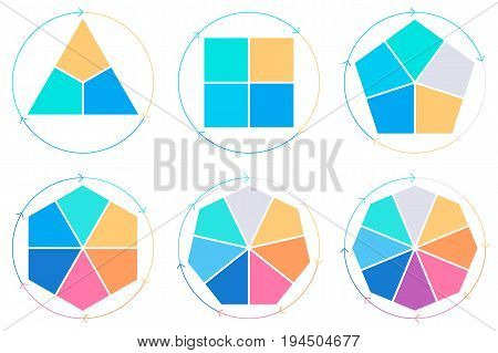 Business infographics. Triangle, square, pentagon, hexagon, heptagon, octagon. Vector pie charts with 3, 4, 5, 6, 7, 8 steps, arrows.