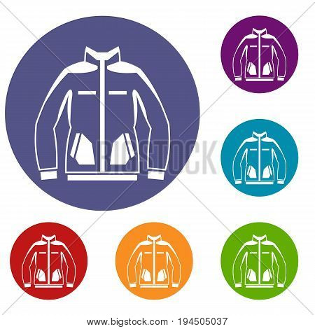 Men winter jacket icons set in flat circle reb, blue and green color for web