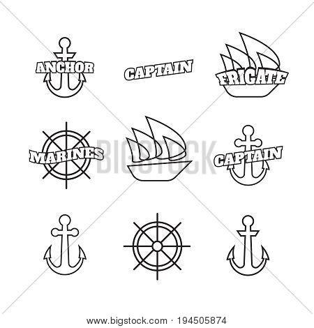 Steering ship wheels and anchors naval navigation vector