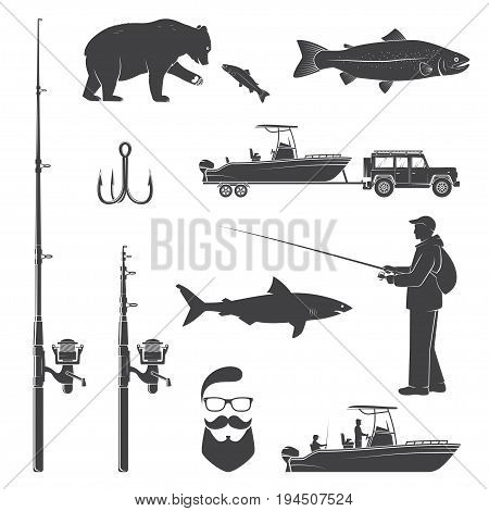 Set of fishing icon. Vector illustration. Set include fish rod and rainbow trout silhouette.