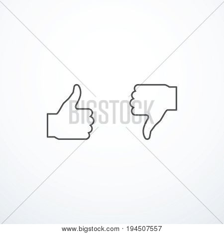 Like and dislake icons. Thumbs up and thumbs down icons.