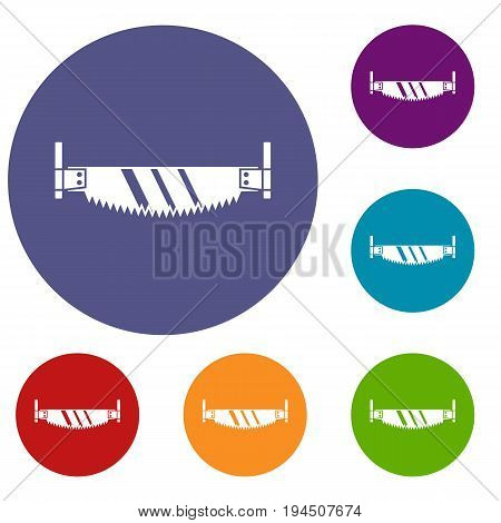 Two handled saw icons set in flat circle reb, blue and green color for web