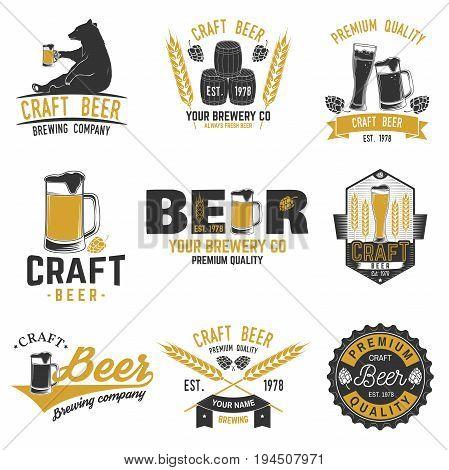 Set of Craft Beer badges with hops, raven and bear. Vector illustration. Vintage design for bar, pub and restaurant business. Coaster for beer.