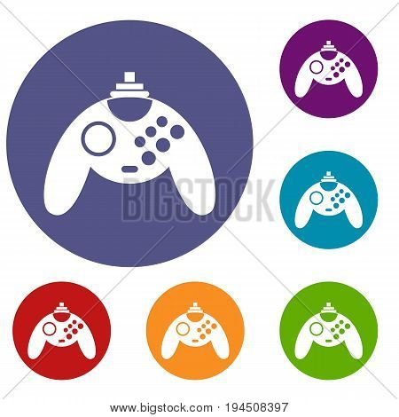 Gamepad icons set in flat circle reb, blue and green color for web