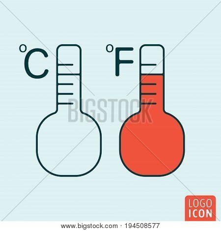Temperature icon. Thermometer fahrenheit and celsius symbol. Vector illustration