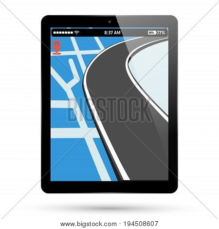 Tablet map location. PC tablet screen with gps navigation, pin pointer and road. Computer pad location point display. Vector illustration.