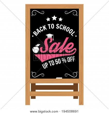 Back to School design. For advertising, promotion, poster, flier, blog, article, social media, marketing or banner. Vector illustration Realistic Wooden announcement board
