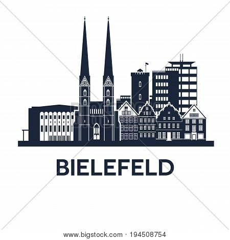 Abstract skyline of city Bielefeld in Germany, vector illustration