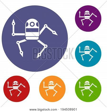 Spider robot icons set in flat circle reb, blue and green color for web