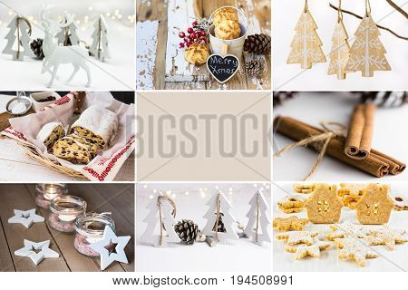 Photo collage white Christmas ornaments baking cookies stollen jar candle holders cinnamon wood fir trees reindeer blank sticker copyspace text ready