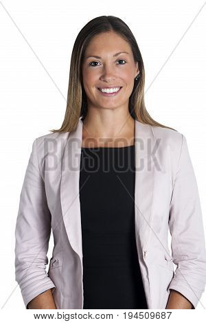 Beautiful young business woman smiling with straight hair on white. A beautiful woman is posing for a portrait. She has a beautiful smile. She wears the clothes of office. White background.