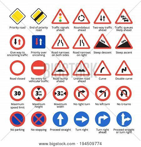 European traffic signs set. Vector road icons collection.