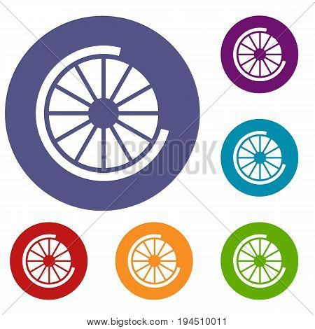 Sign incomplete download icons set in flat circle reb, blue and green color for web