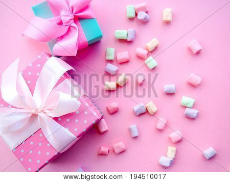 Colorful Mini Marshmallows Background, Close-up Texture. A Pile Of Different Mini White, Pink And Or