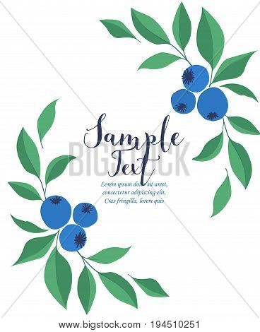 Vector illustration of a greeting card with blueberries and leaves