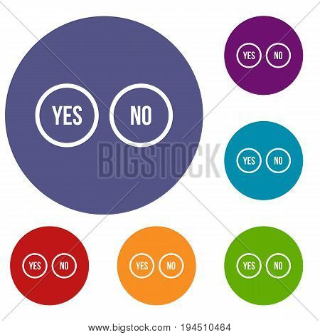 Selection buttons yes and no icons set in flat circle reb, blue and green color for web
