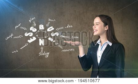 Beauty Girl In A Suit Holding On Palm Hand Painted Business Concept Structure. Concept Of A Successf