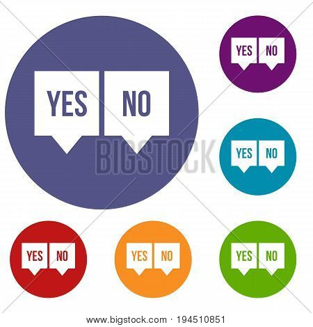 Signs of yes and no icons set in flat circle reb, blue and green color for web