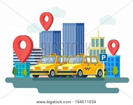 Yellow taxi car. Booking taxi. Online taxi service. Banner in flat 3d style. City skyscrapers and car. City silhouette with skyscrapers. Design in flat modern style. Raster image
