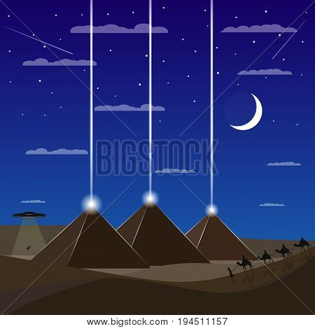 Egypt pyramids with UFO. Caravan of camels. Egypt night. UFO are kidnapping the camel.