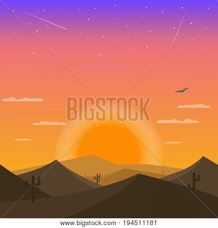 Sunset in the desert. Desert cactus and sands. Night stars on desert sky.