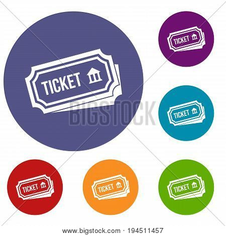 Ticket icons set in flat circle reb, blue and green color for web