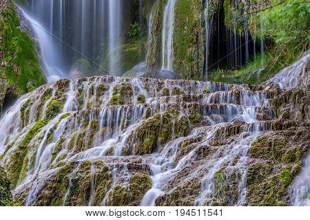 Krushuna waterfalls in bulgaria at spring days