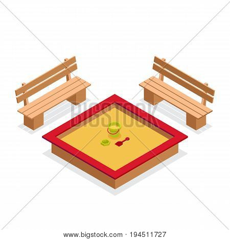 Isometric sandbox with toys and benches. 3d outdoor furniture vector icon