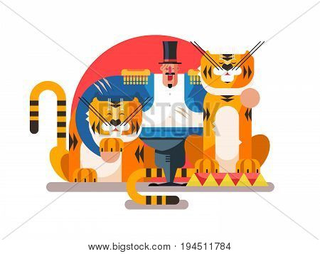 Animal trainer with tiger. Circus and wild predator, show performance, vector illustration