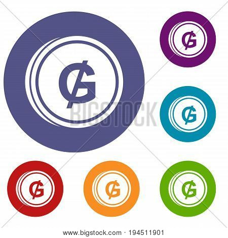 Coin guarani icons set in flat circle reb, blue and green color for web