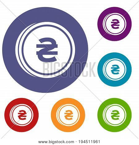 Coin hryvnia icons set in flat circle reb, blue and green color for web