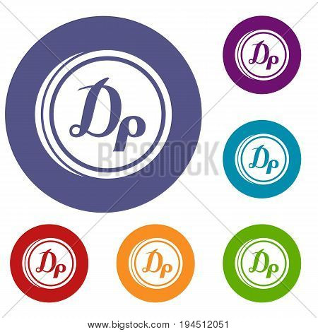 Coin drachma icons set in flat circle reb, blue and green color for web