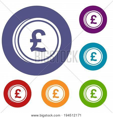Coins of pound icons set in flat circle reb, blue and green color for web