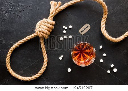 Various Methods Of Suicide - Rope Slipknot, Blades, Pills And Alcohol