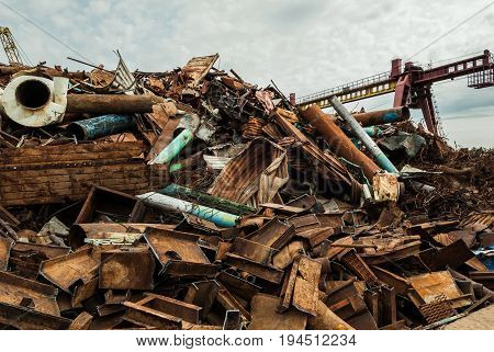 The point of reception of scrap metal in one territory with a dump. Langepas. Russia.