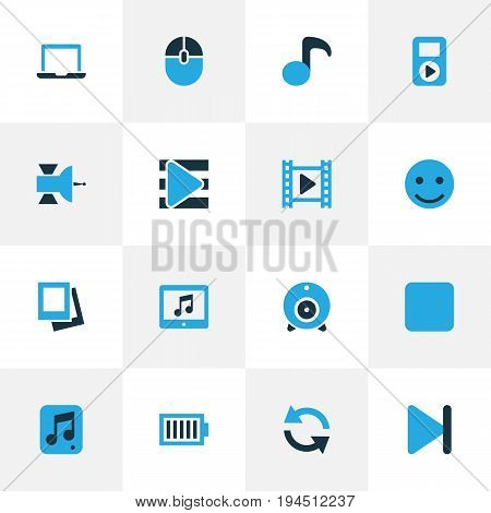 Media Colorful Icons Set. Collection Of Full Battery, Movie, Quaver And Other Elements. Also Includes Symbols Such As Song, Happy, Refresh.
