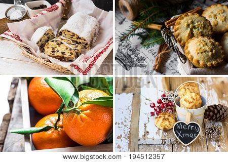 Photo collage Christmas baking german stollen mince pies in wicker basket coconut puffs tangerines with green leaves fir tree branches