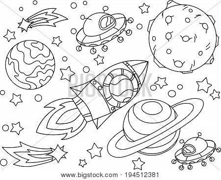 The rocket flies to the moon coloring book. Antistress planet earth and moon Vetor illustration in zentangle style. EPS 10.