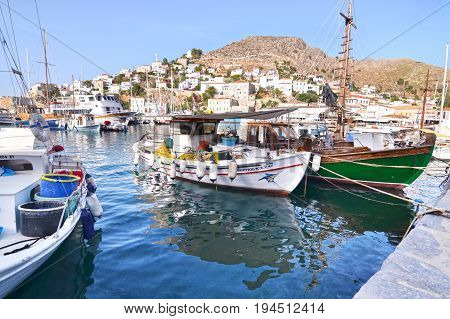 HYDRA GREECE, JUNE 06 2016: port at Hydra island Saronic Gulf Greece. Editorial use.
