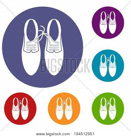 Tied laces on shoes joke icons set in flat circle reb, blue and green color for web