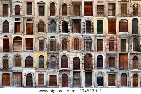 Old wooden doors collection. Collage of 60 doors and gates. Sixty doors and gates in the old historic center of Perugia (Italy). Style and architecture over time, compilation collage.