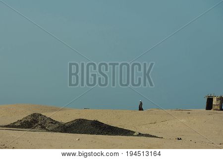 Desert With Sand Dunes, Bedouin And Nomad Tent