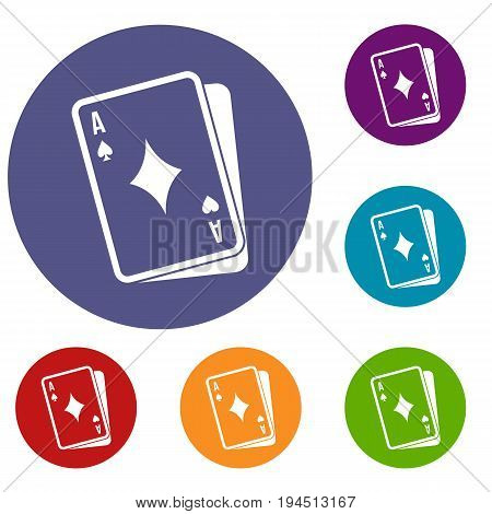Playing card icons set in flat circle reb, blue and green color for web