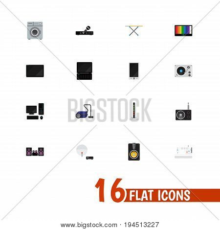 Set Of 16 Editable Technology Icons. Includes Symbols Such As Megaphone, Personal Computer, Sewing Machine And More. Can Be Used For Web, Mobile, UI And Infographic Design.