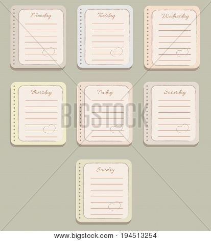 The sheets of the planner. Cute lines. Decorative hearts. Diary.To Do List. The names of the days of the week. The Style Of Provence. Gentle colors. Vector illustration.