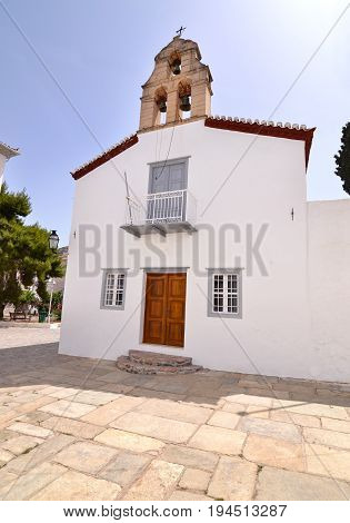 traditional chapel at Hydra island Saronic Gulf Greece