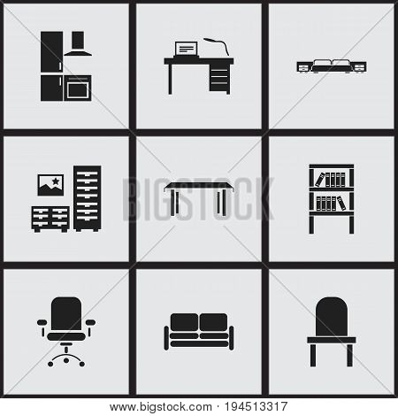 Set Of 9 Editable Interior Icons. Includes Symbols Such As Ergonomic Seat, Cuisine, Mattress And More. Can Be Used For Web, Mobile, UI And Infographic Design.