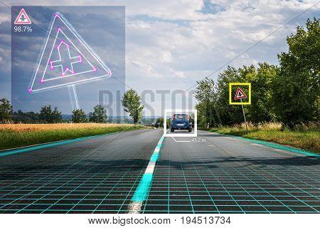 Autonomous Self-driving Car Is Recognizing Road Signs. Computer