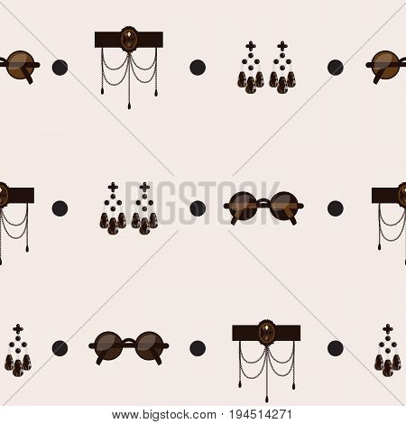 Seamless pattern with goth accessories on beige background. Subculture creative design in dark colors. Pattern based on black round shaped glasses elegant long earrings and gothic necklace.