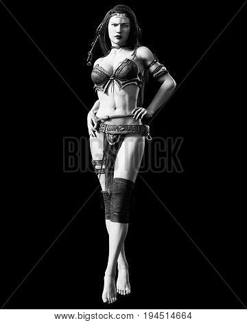 Warrior amazon woman. Long dark hair. Muscular athletic body. Girl standing candid provocative aggressive pose. Photorealistic 3D rendering isolate illustration. Hi key. Black white